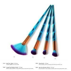 Other - 4 Pcs Makeup Brush Set – Eyes, Brow, & Fan Brushes